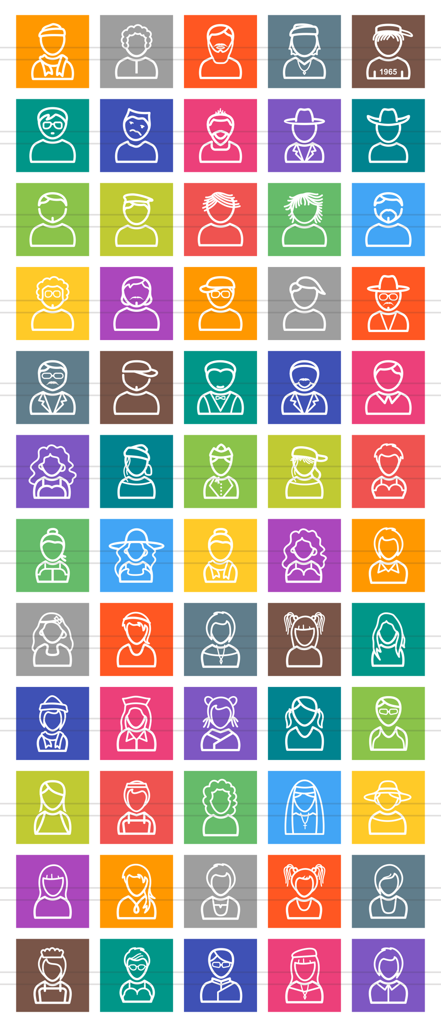 60 Avatars Line Multicolor B/G Icons example image 2