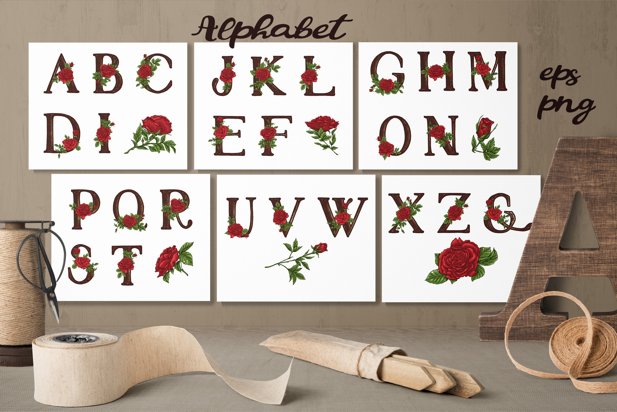 Roses – Vector Alphabets Set example image 1