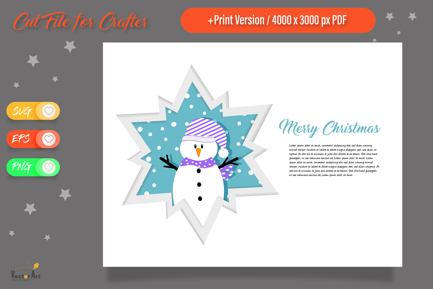 Christmas Star Paper Cut - Snowman example image 1