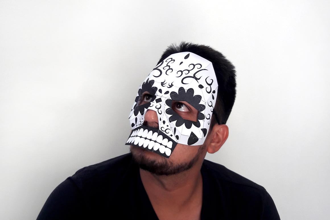 DIY Sugar Skull - 3d papercraft example image 4