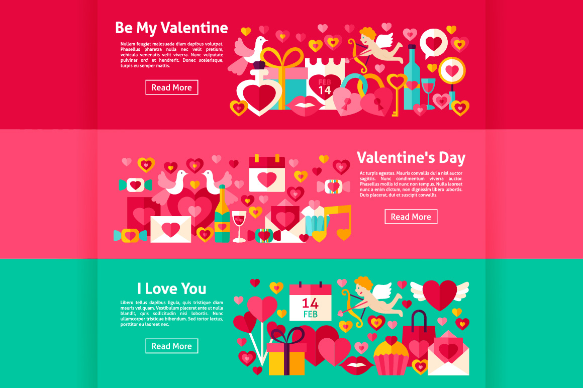 Valentine's Day Flat Banners example image 4