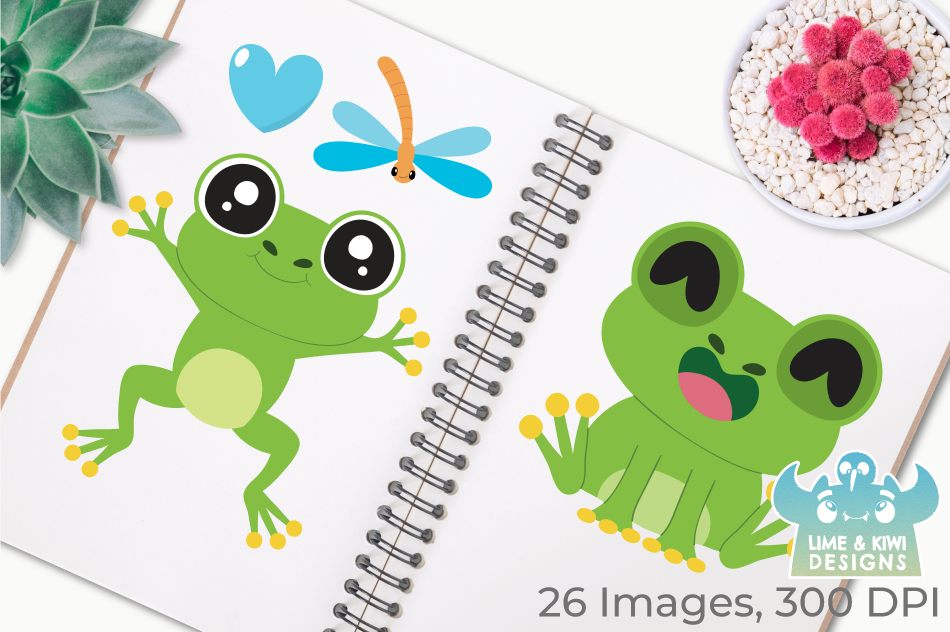 Frog Boys Clipart, Instant Download Vector Art example image 3