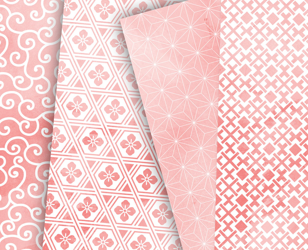 Coral Pink Digital Paper Japanese Background Patterns example image 4