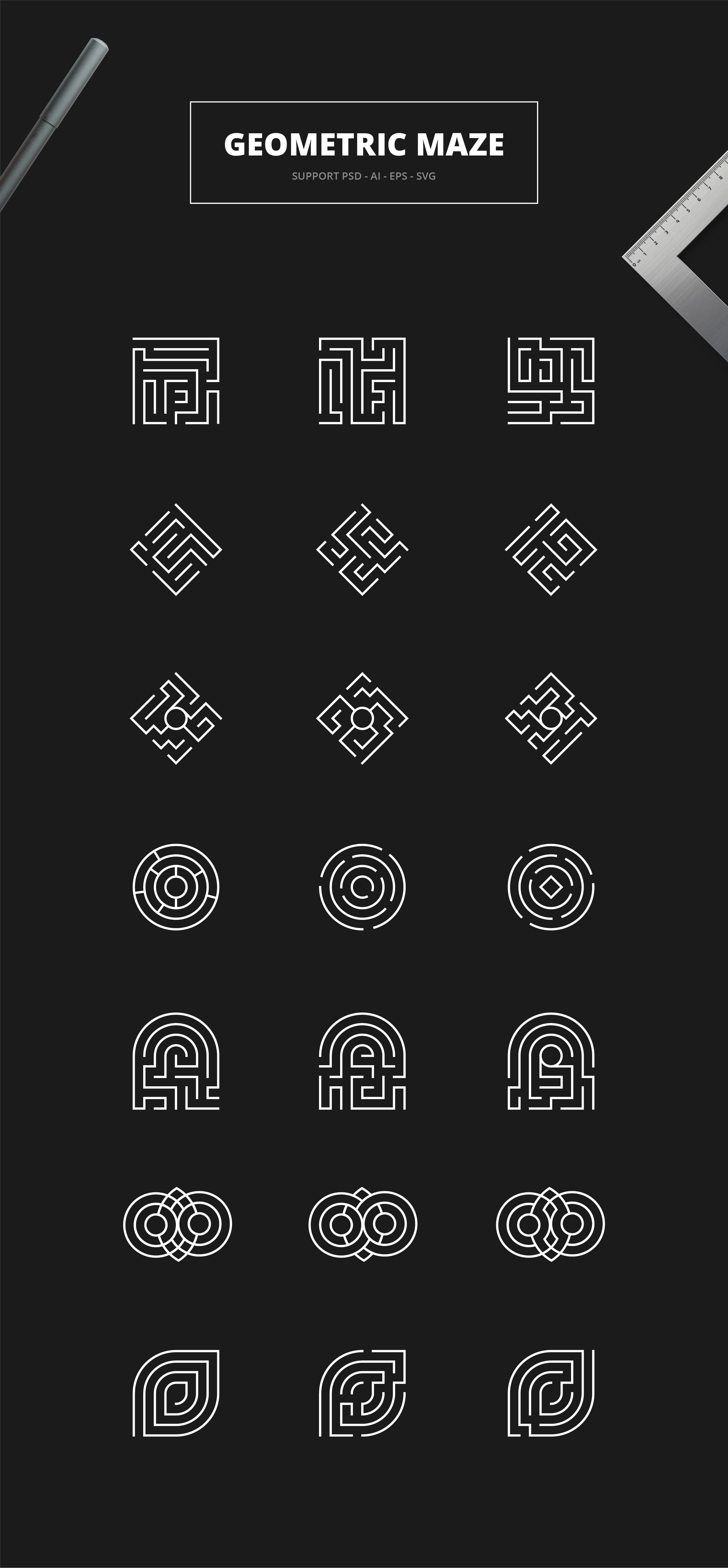 Geometric Maze Logos + Templates example image 2