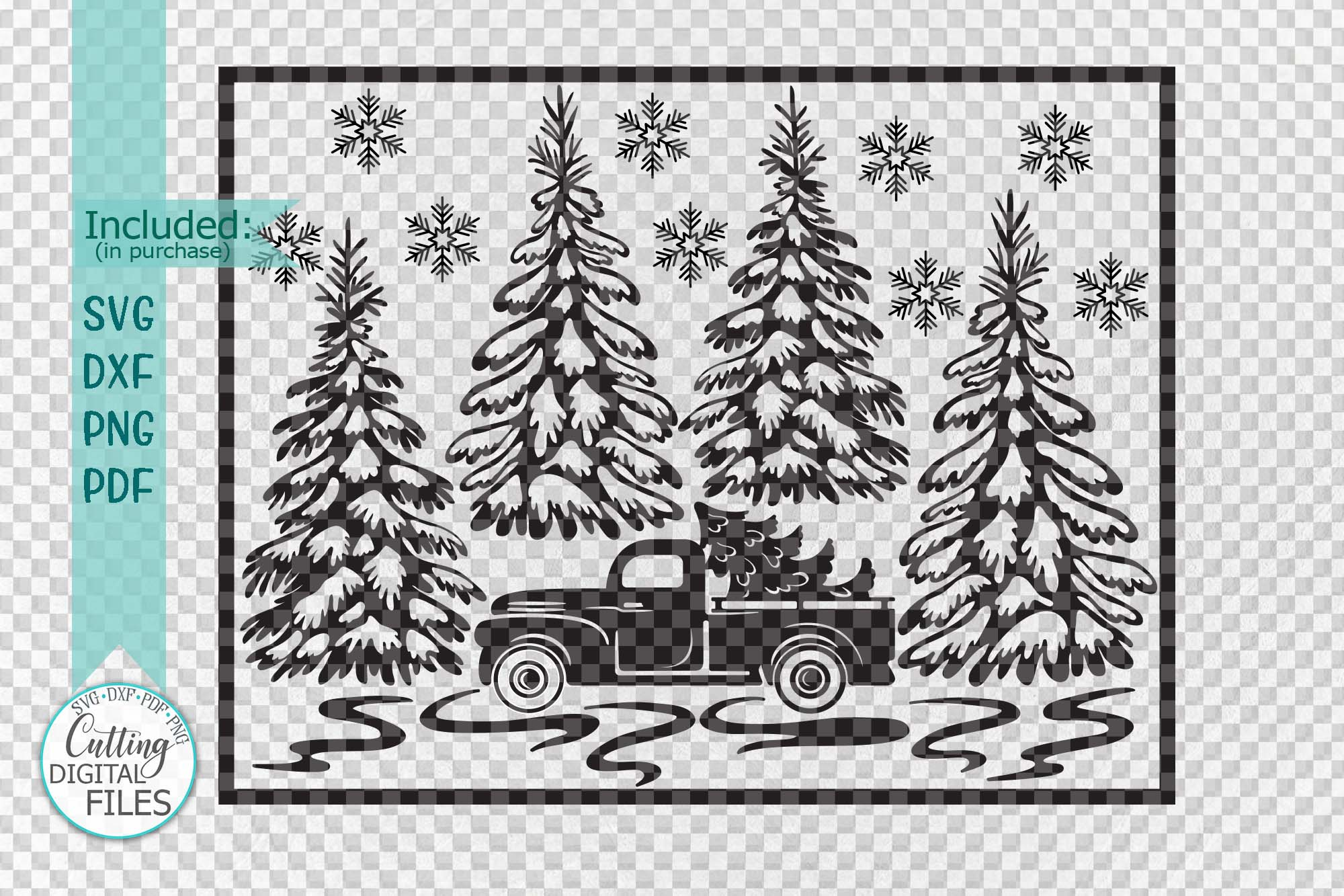 Christmas Truck with Trees Winter scene sign svg pdf design example image 2