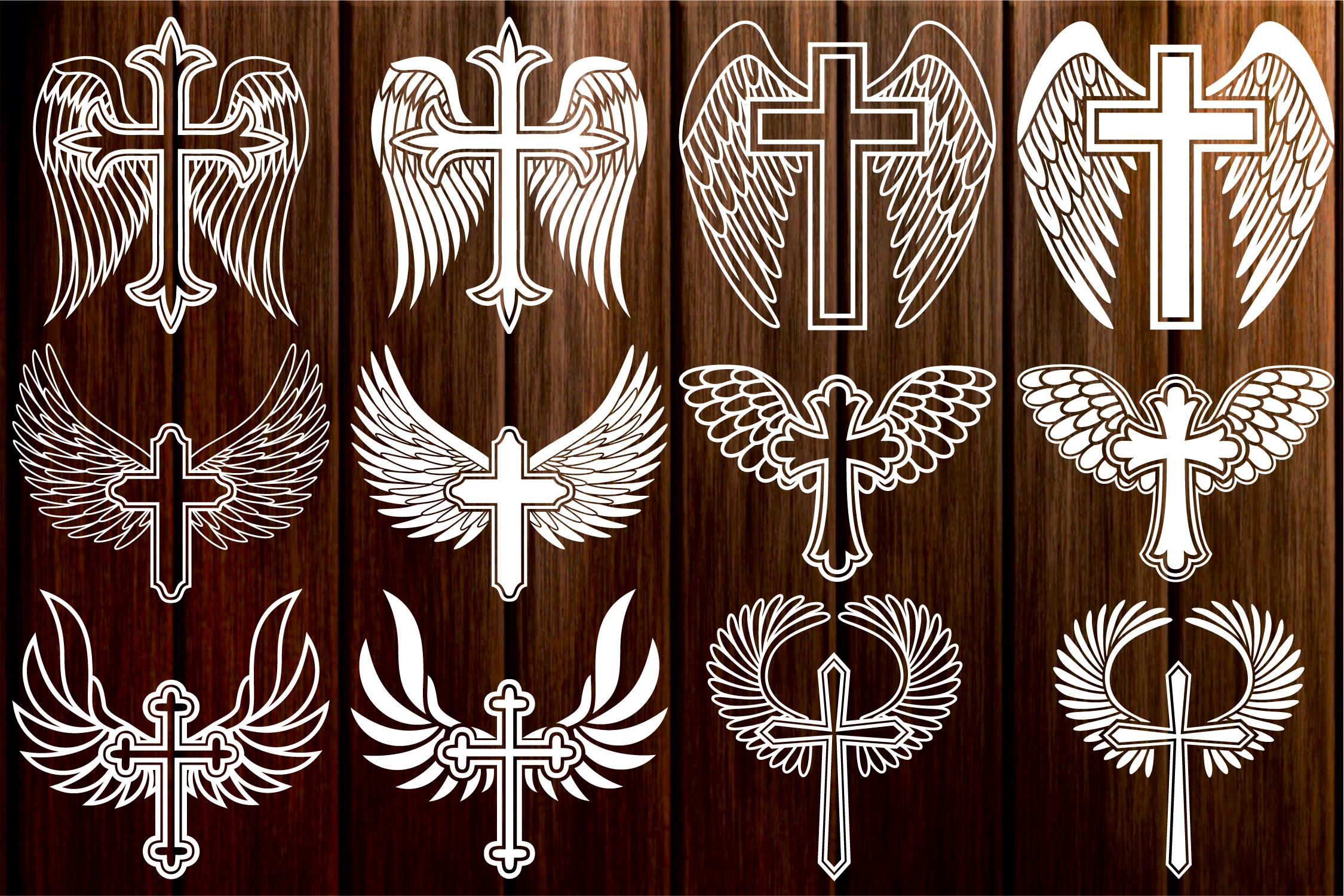 Cross with Wings SVG, Cross Svg, Memorial SVG, Angel Wings example image 1