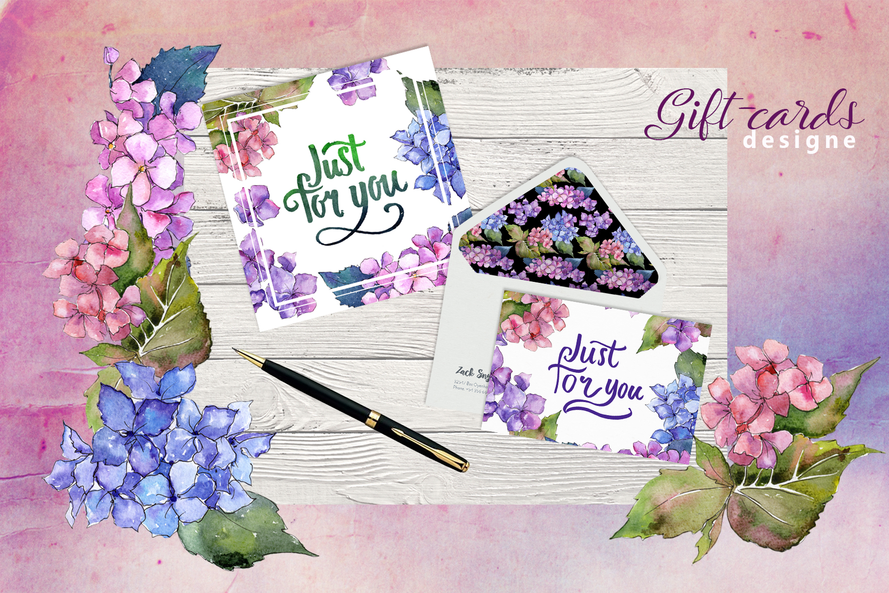 Hydrangea PNG watercolor flower set  example image 3
