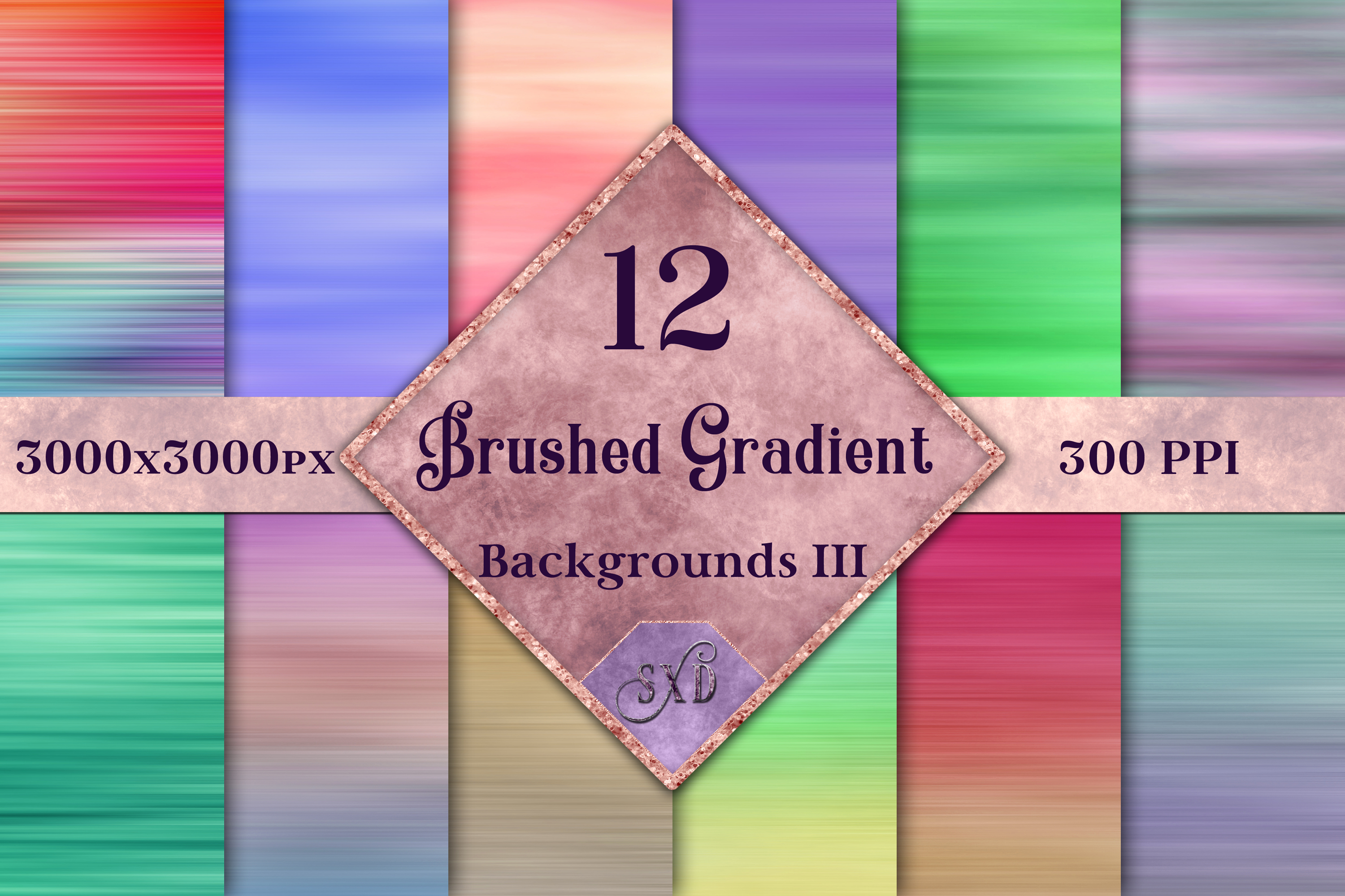 Brushed Gradient Backgrounds III - 12 Image Textures Set example image 1