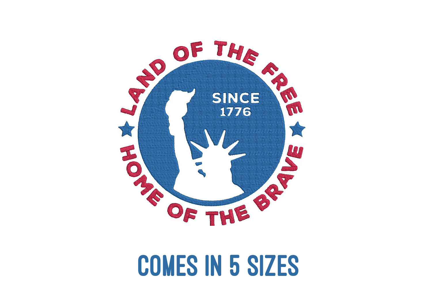 Land of the free| Independence day | Machine embroidery| example image 1