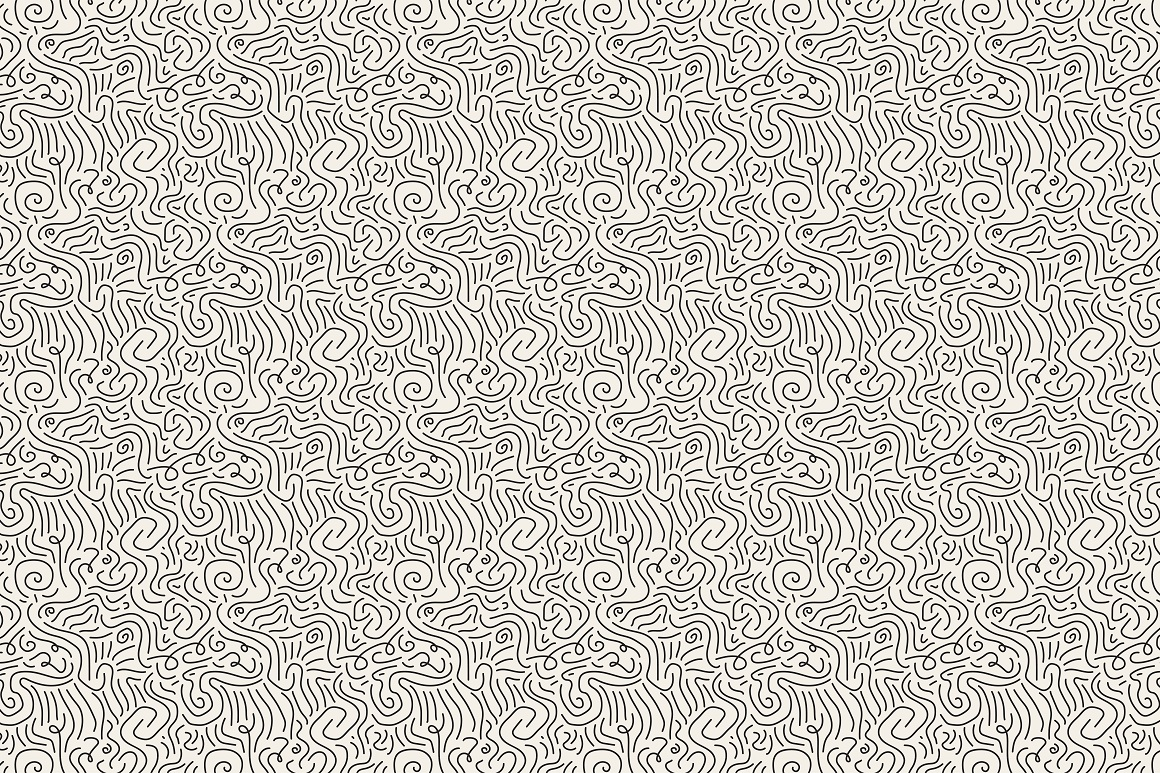 Hand drawn seamless curly patterns. example image 10
