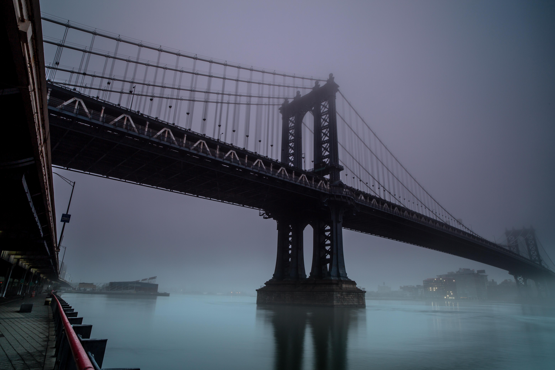 Manhattan bridge on a foggy morning example image 1