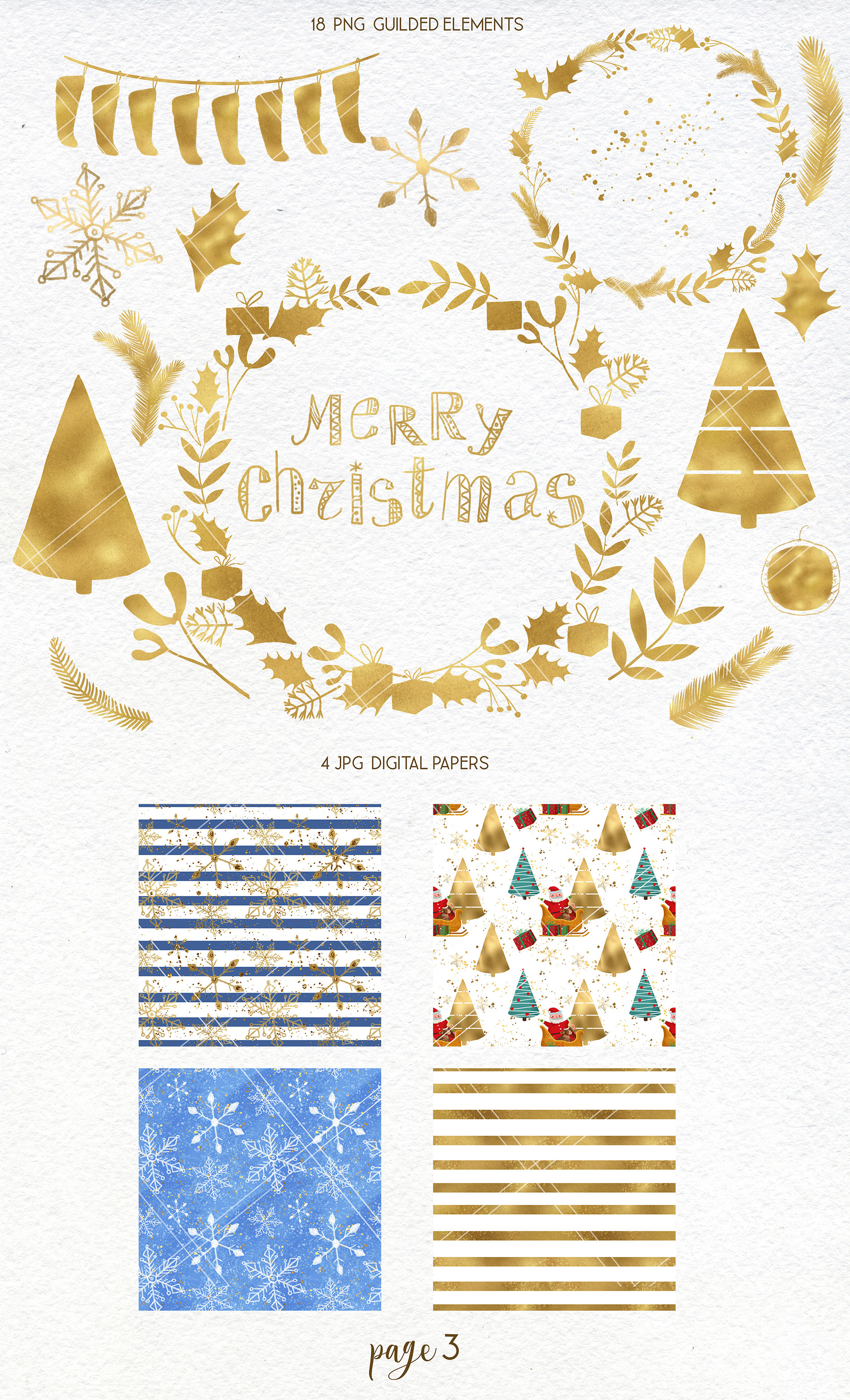 Merry Christmas clipart pack with Santa and digital paper example image 4