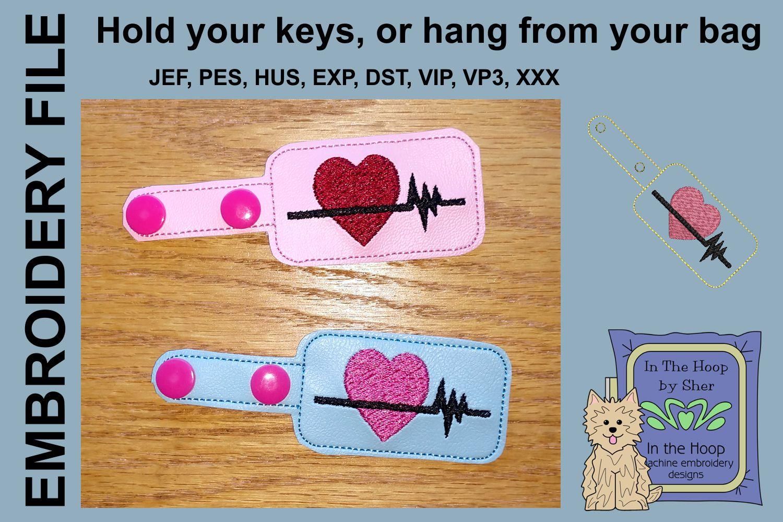 ITH Heart Healthy Vinyl Key Fob or Bag Tag - Snap Tab Machin example image 2