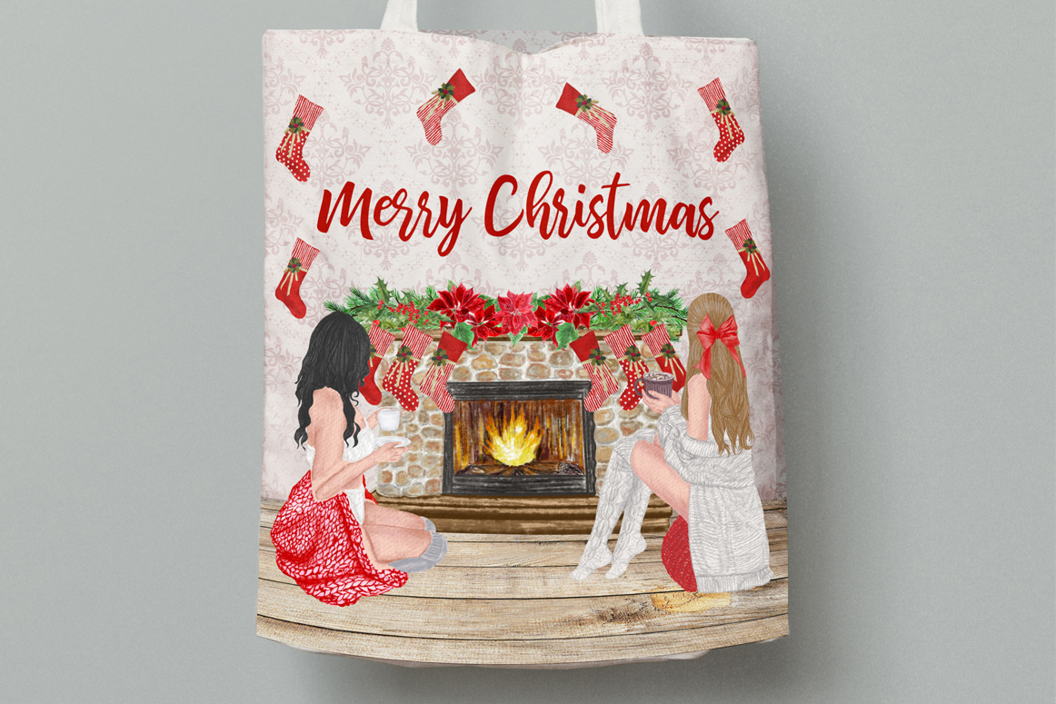 Christmas Girls Clipart, Fireplace and Stockings, Ornaments example image 4
