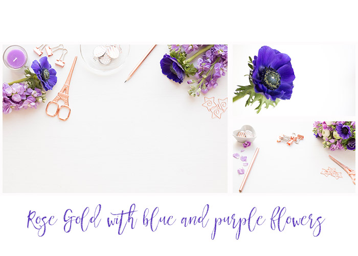 Rose gold with royal blue anamones and purple hyacinths styled desktop bundle of 5 images example image 2