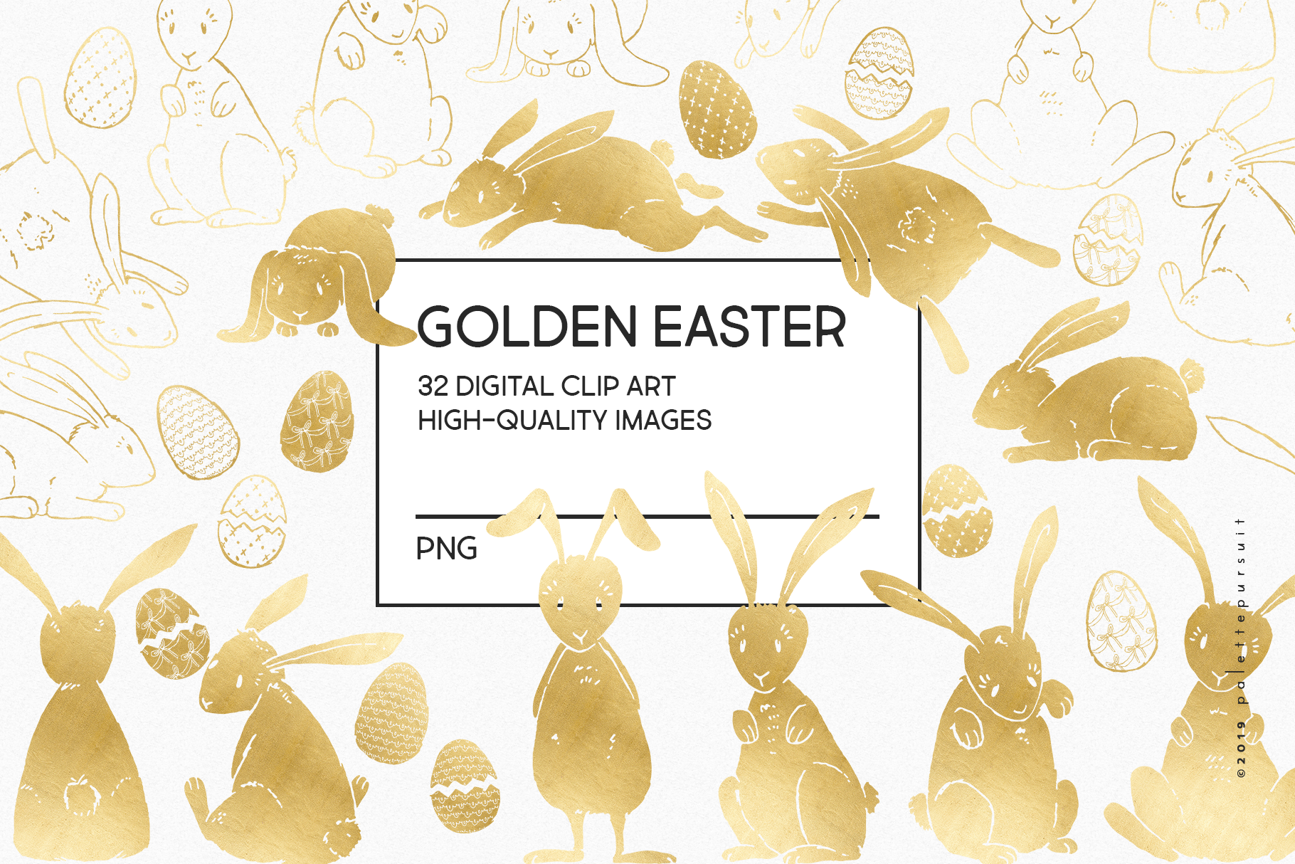 Gold Easter egg and Easter bunny clip art example image 3