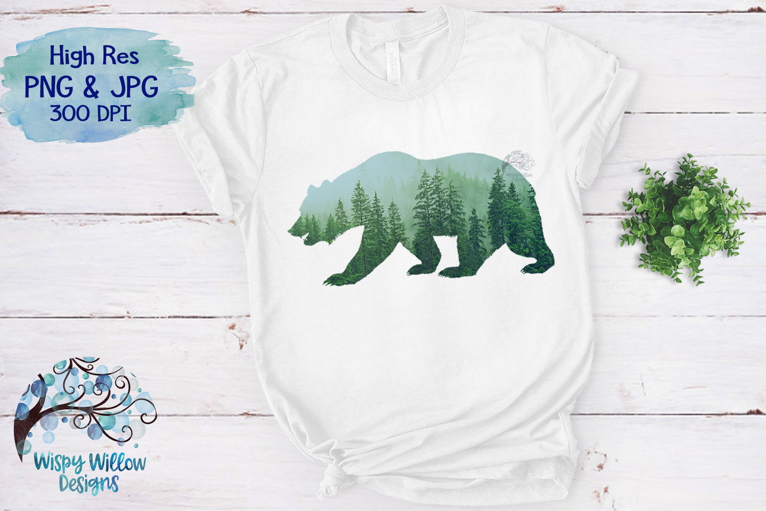 Forest Bear PNG | Sublimation | Clipart example image 3