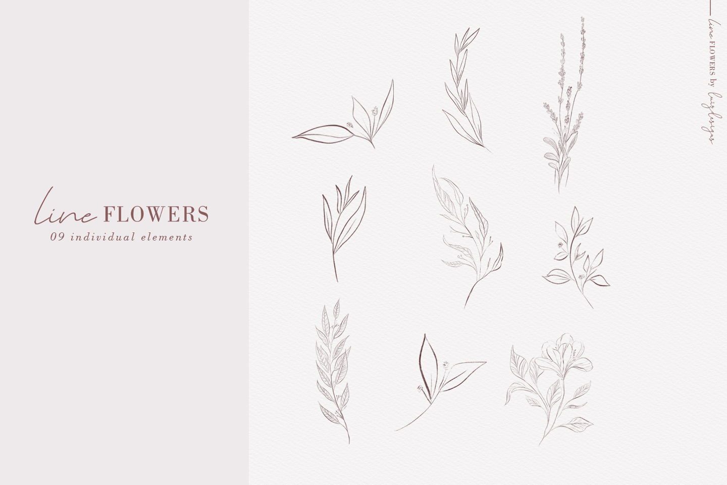 Line Flowers| Leafs Clipart example image 2