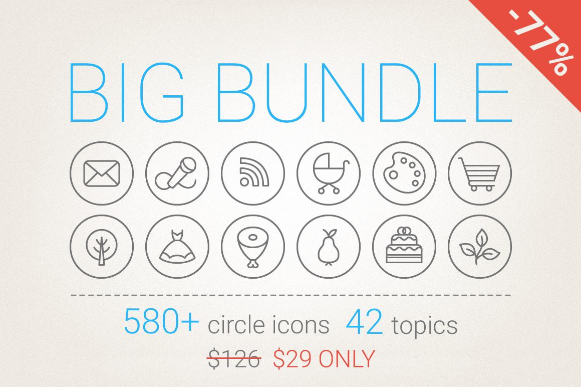 77 Off - Circle Icons Big Bundle example image 1