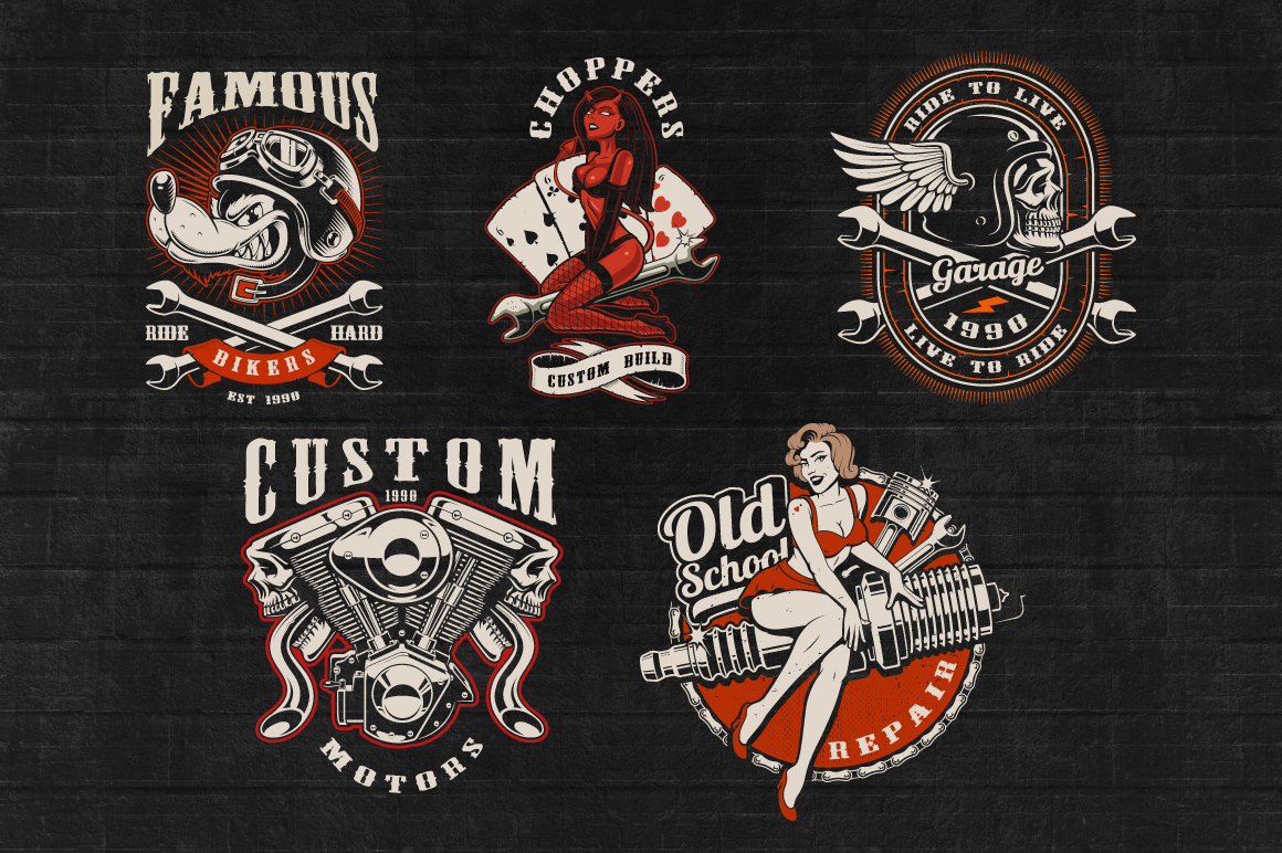 Set of Bikers Shirt Designs. example image 3