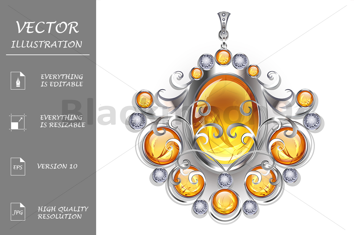Silver Pendant with Amber example image 1