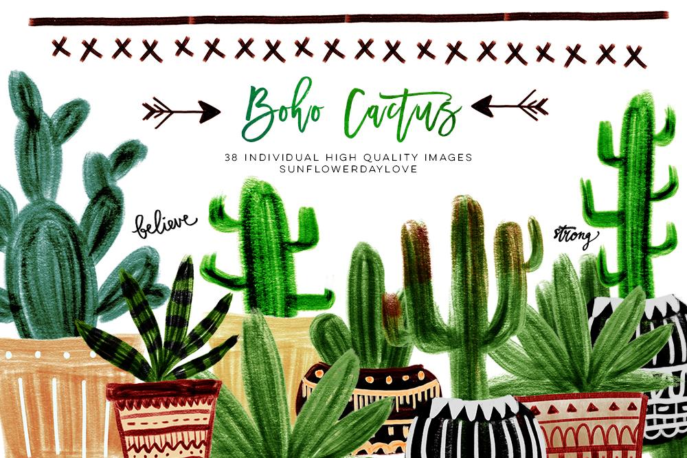 Boho Cactus Clipart, Watercolor Boho Clipart example image 1