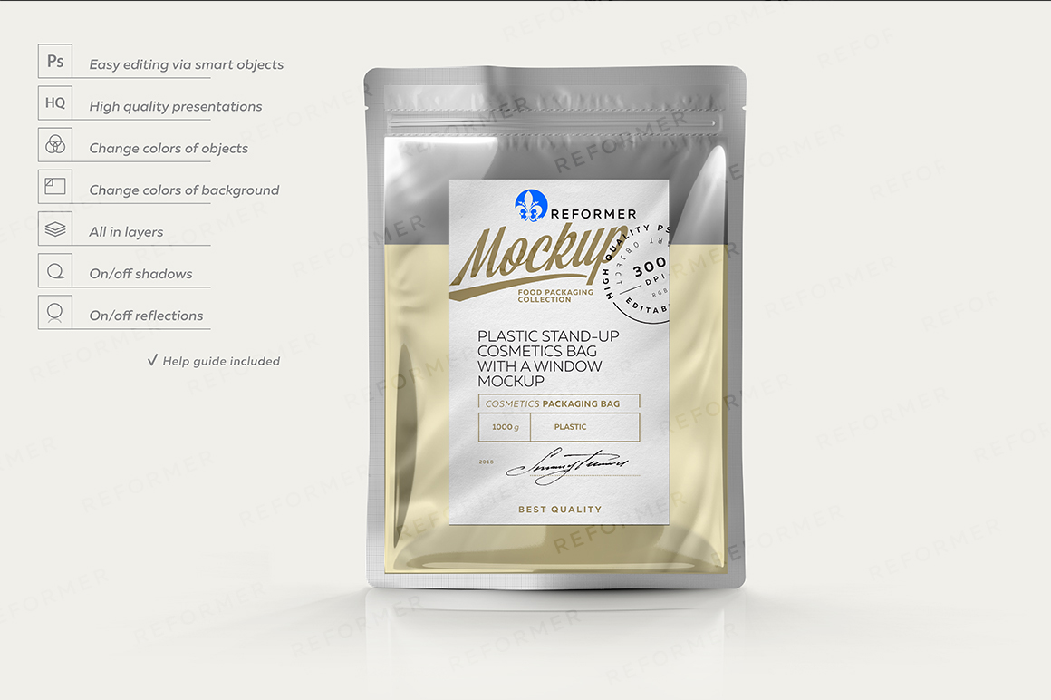 PLASTIC STAND-UP COSMETICS BAG WITH A WINDOW MOCKUP example image 1