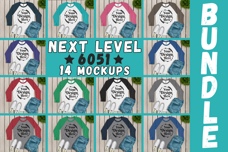 MEGA BUNDLE 14 Mockups Next Level 6051 3/4 Sleeve MultiColor example image 1