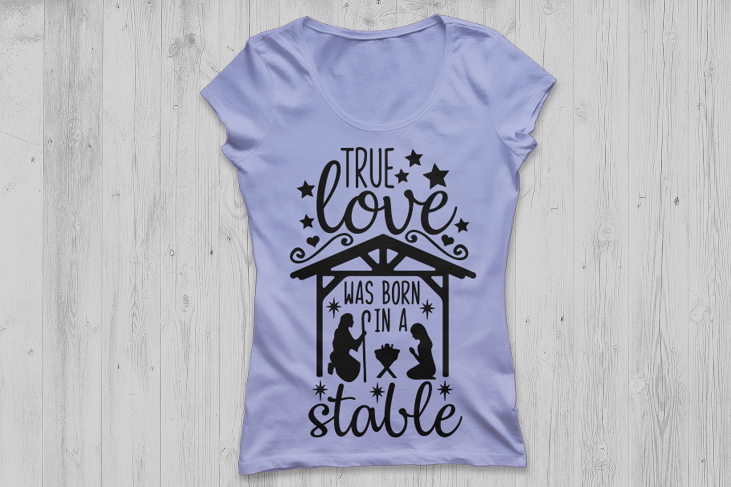 True Love Was Born In A Stable Svg, Christmas Svg, Jesus Svg example image 2