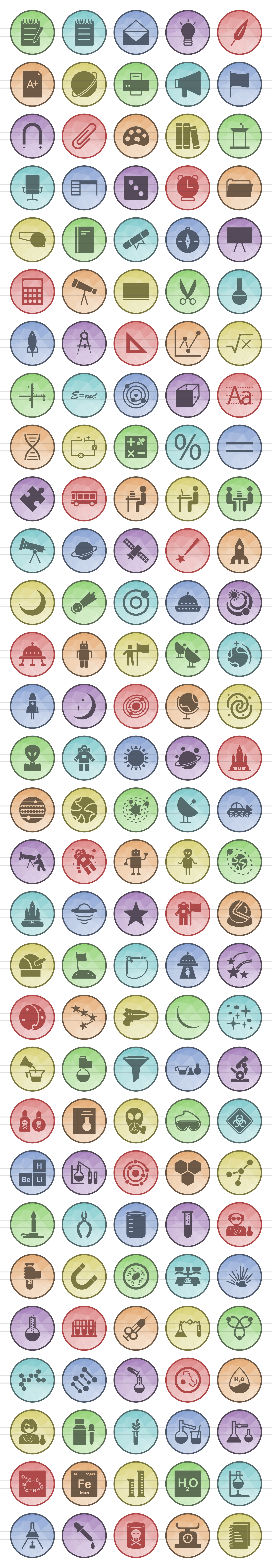 150 Science Filled Low Poly Icons example image 2