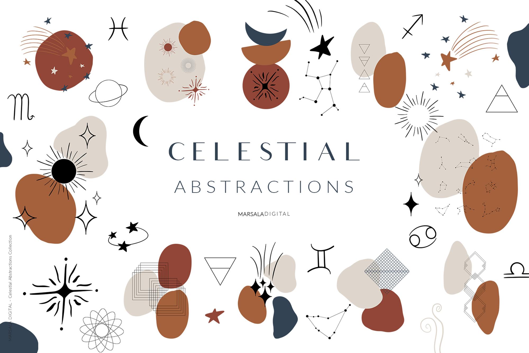 Celestial Abstract Set, Zodiac Stars example image 1