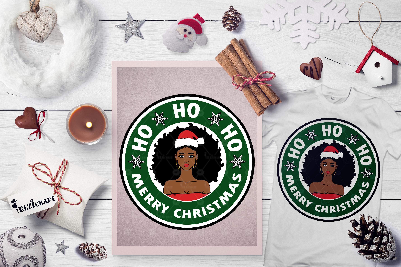 Ho ho ho Merry Christmas, Afro Girl, Santa Hat SVG Cut File example image 1