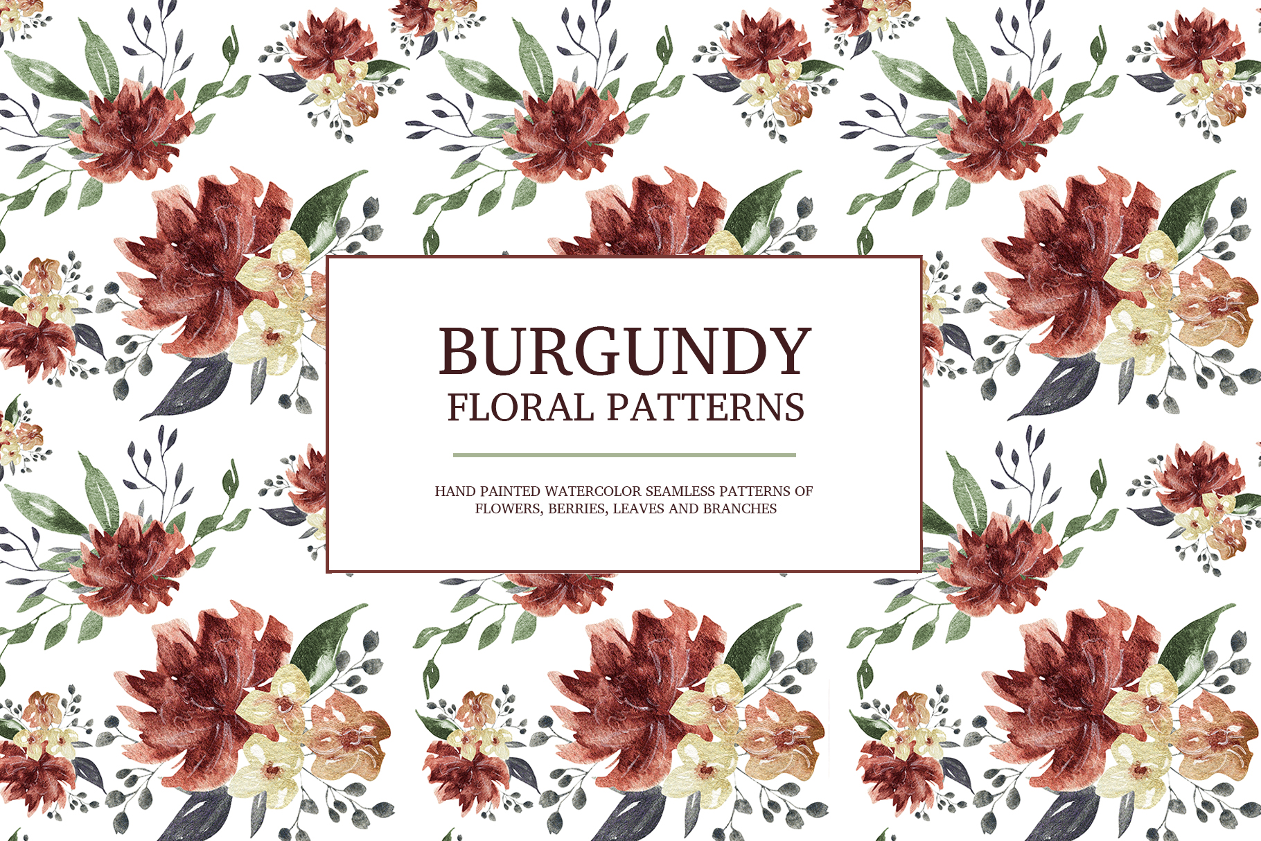 Burgundy floral seamless patterns, Seamless peony pattern example image 1