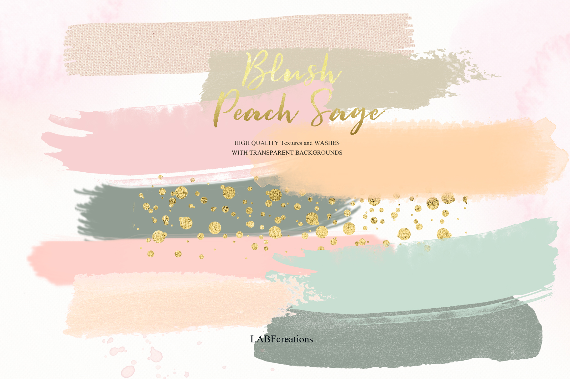 Blush Peach Sage Watercolor flowers clipart example image 6