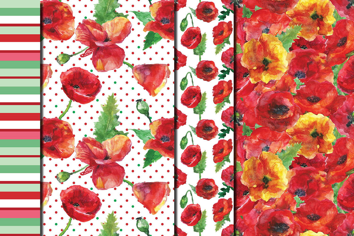 Watercolor Poppies seamless digital paper pack example image 5