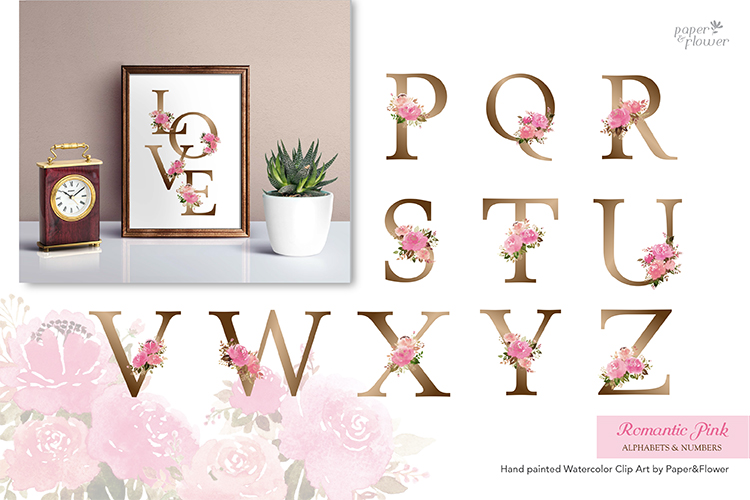 Pink Rose Floral Watercolor Alphabet Set example image 3