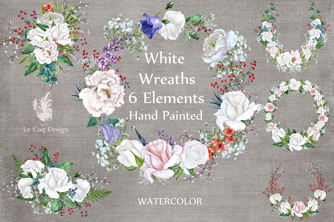 Watercolor roses wreaths clipart example image 1