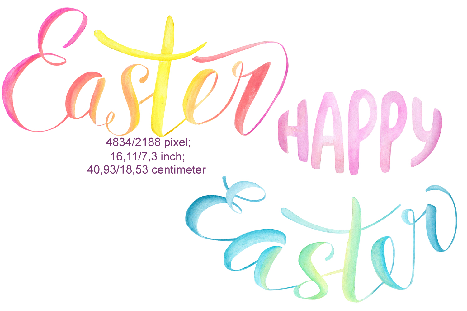 Watercolor Easter Bunny ears Clipart example image 4