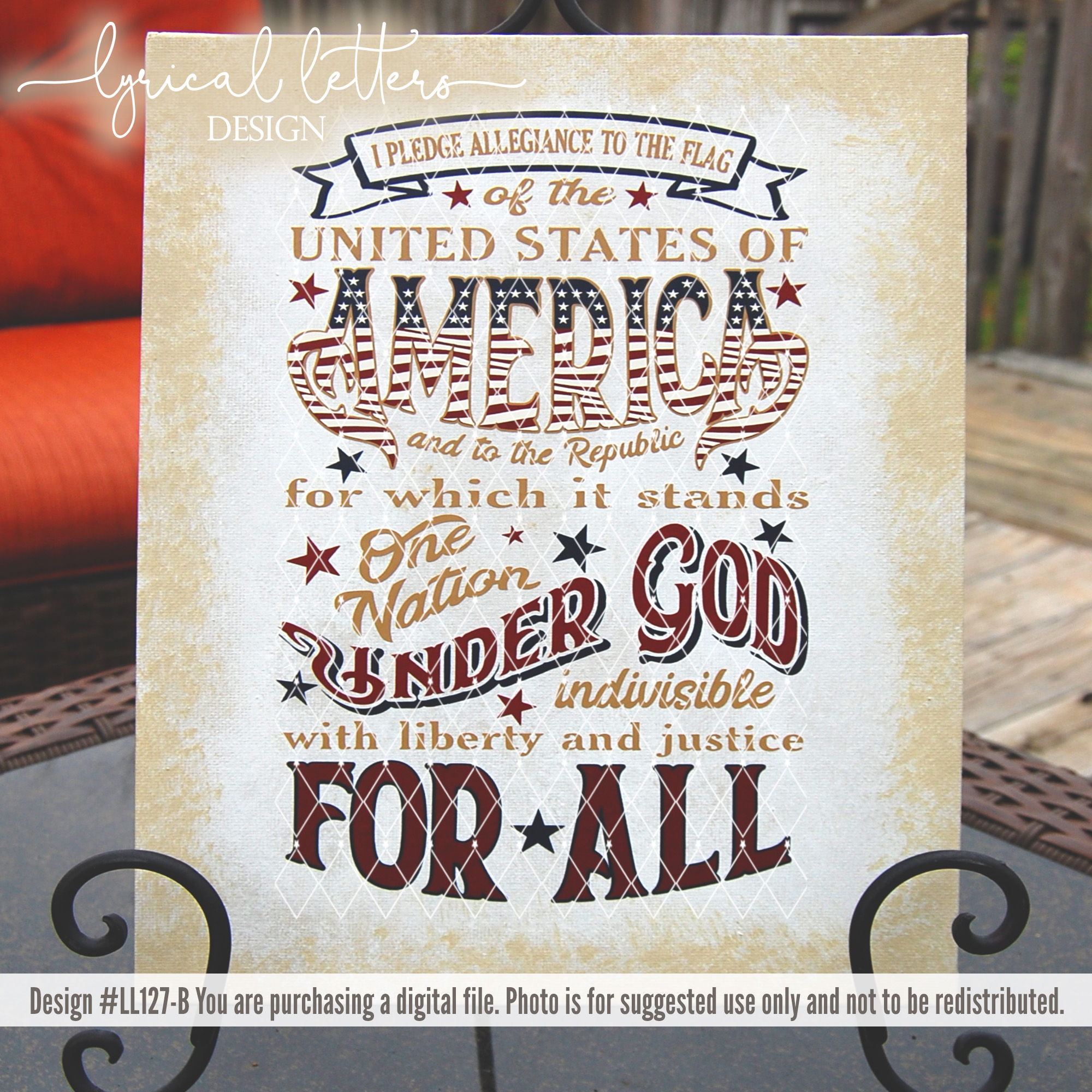 Pledge of Allegiance Patriotic July 4th SVG DXF LL127B example image 3