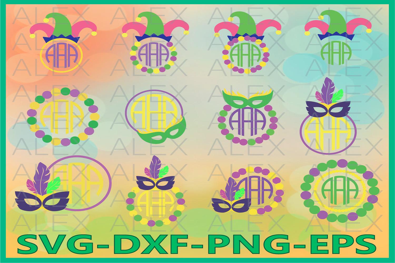 Mardi Gras SVG, Mardi Gras Monogram Frame Files svg example image 1