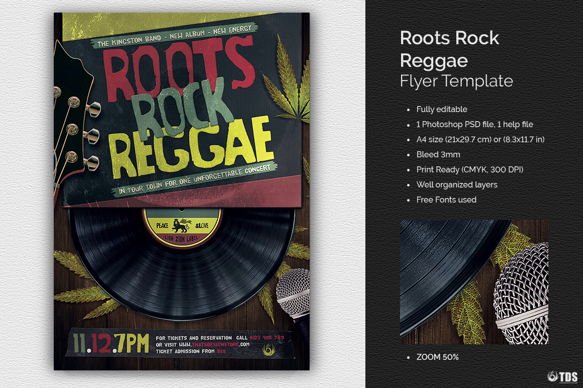 Roots Rock Reggae Flyer Template example image 1
