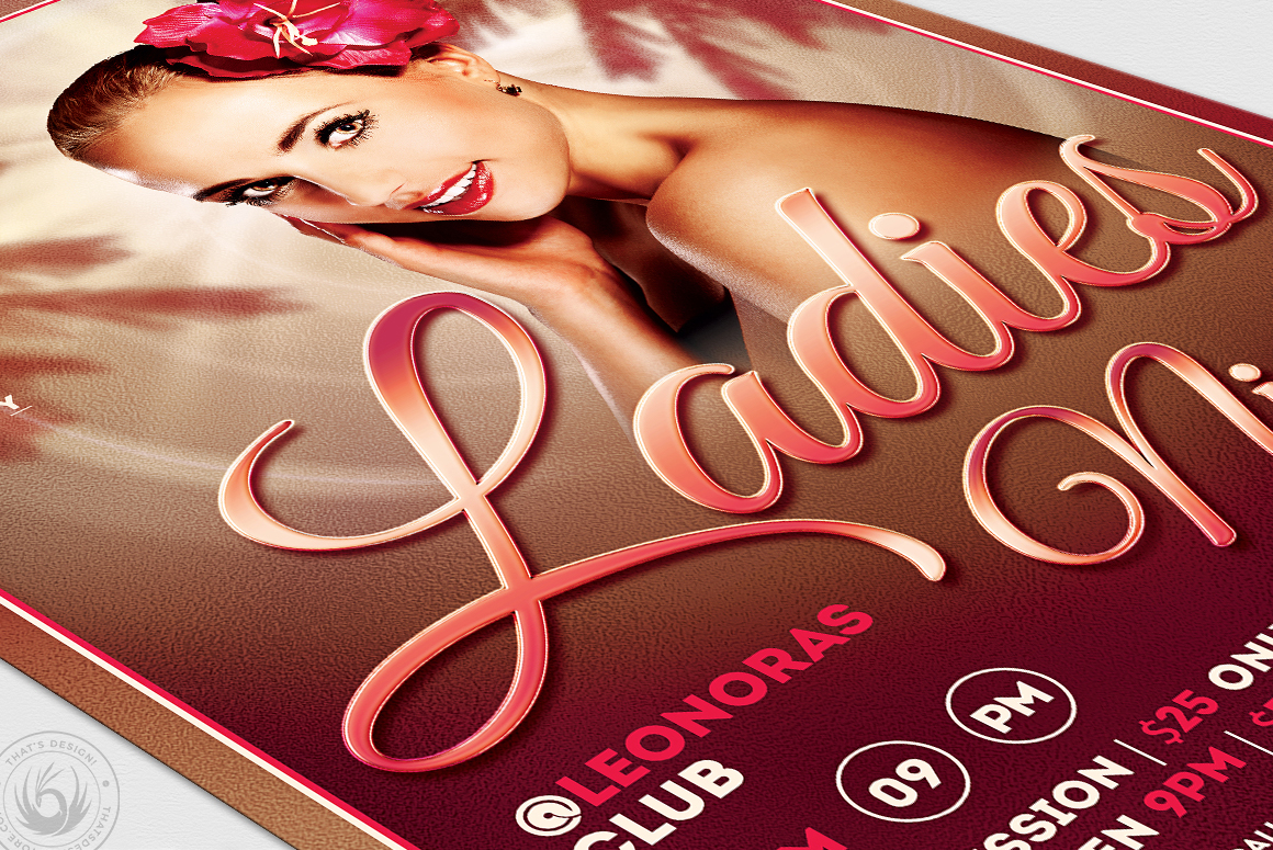 Sensual Ladies Night Flyer Template example image 6