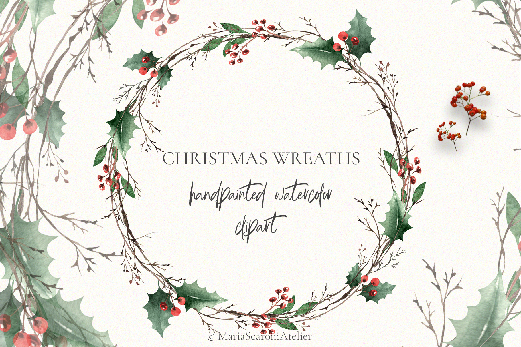 Christmas Watercolor Wreaths example image 2