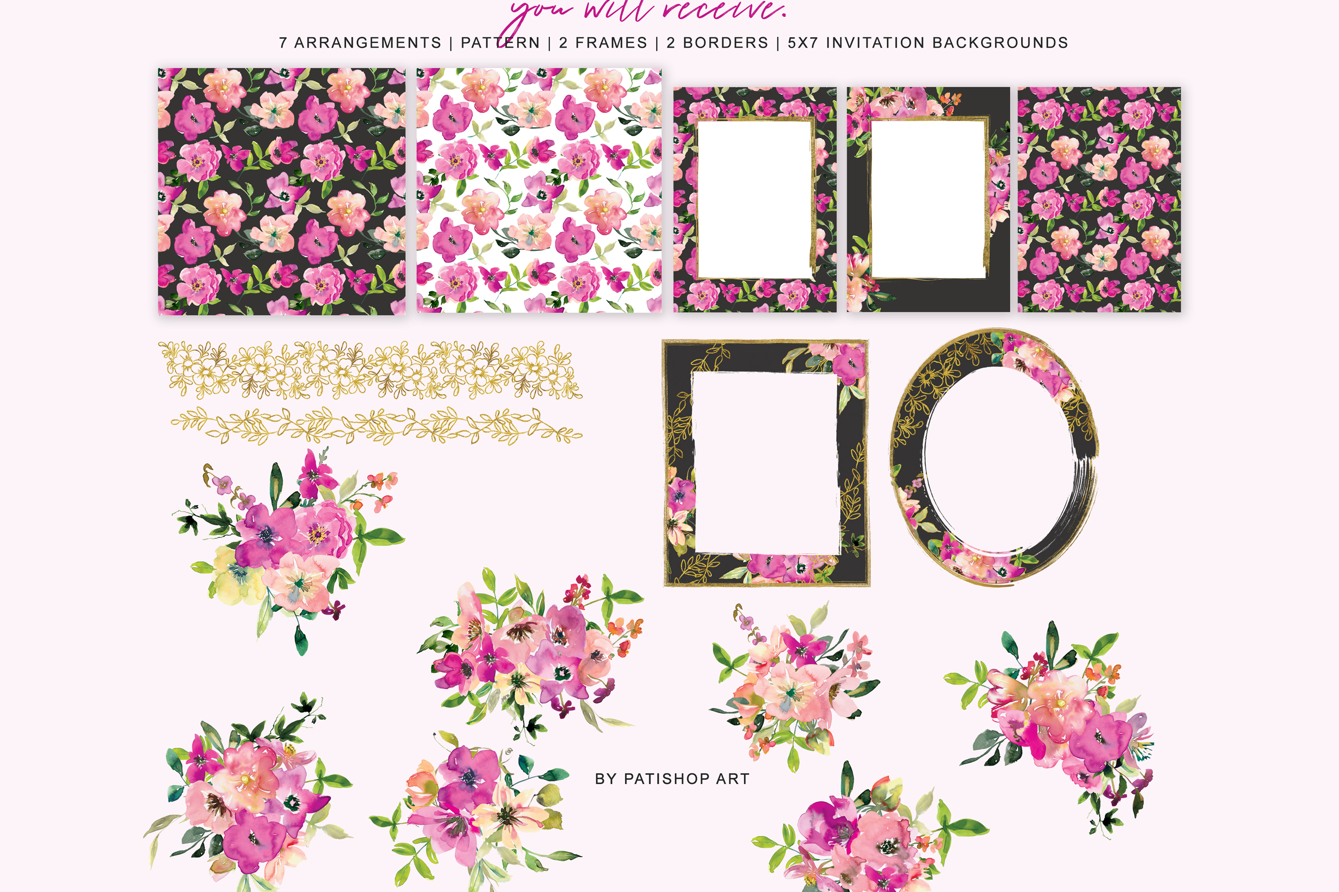 Watercolor Magenta and Blush Floral Bouquet Clipart example image 9