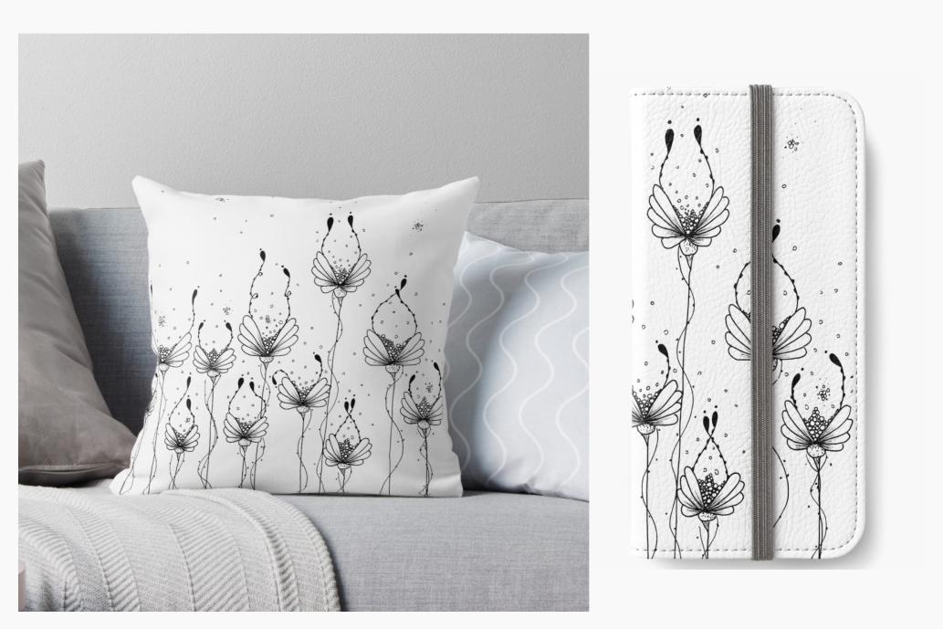 Dew Flower Doodle Art, A1, SVG example image 8