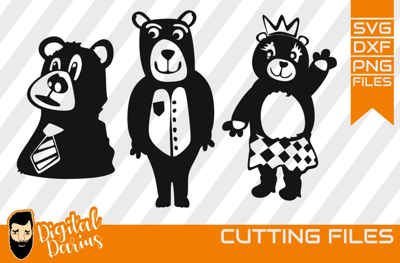 3x Sweet Bear svg, Bear in crown svg, tie, Mama Bear svg example image 1