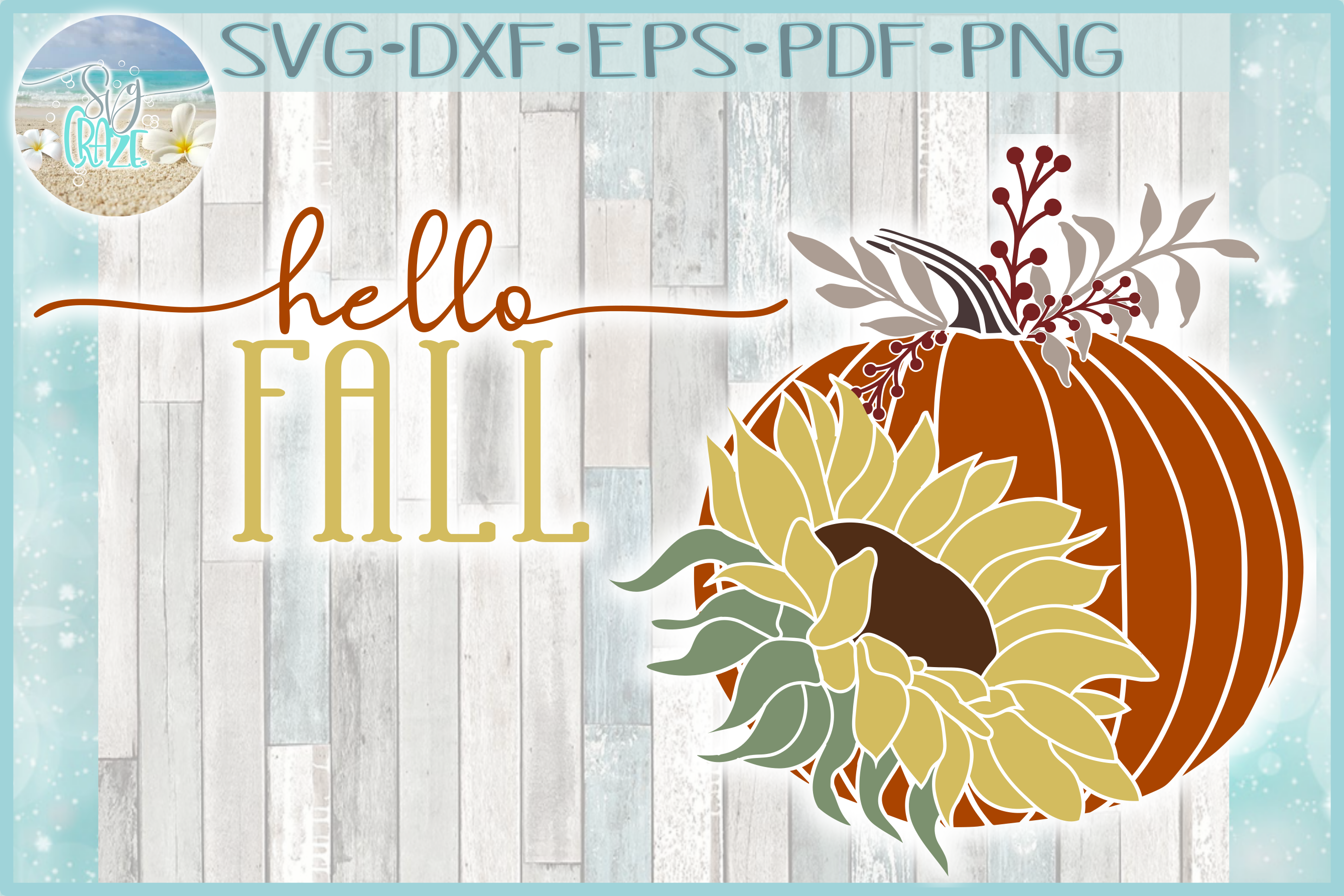Hello Fall Quote With Pumpkin and Sunflower SVG example image 1