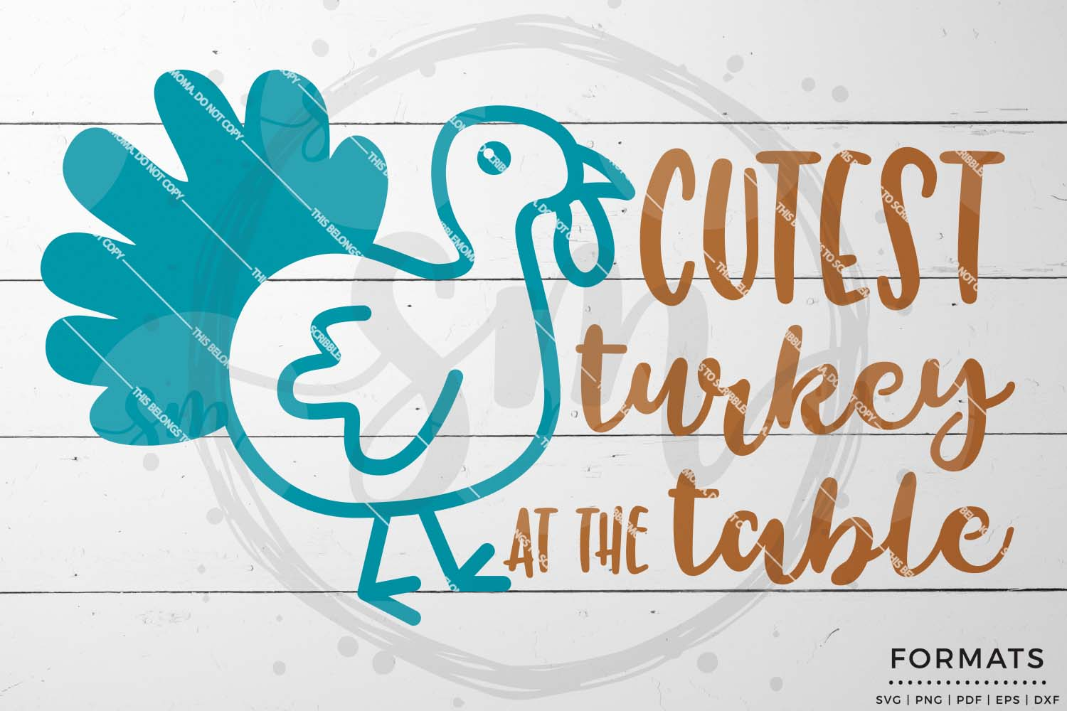 Cutest Turkey at the Table SVG - Thanksgiving svg example image 1