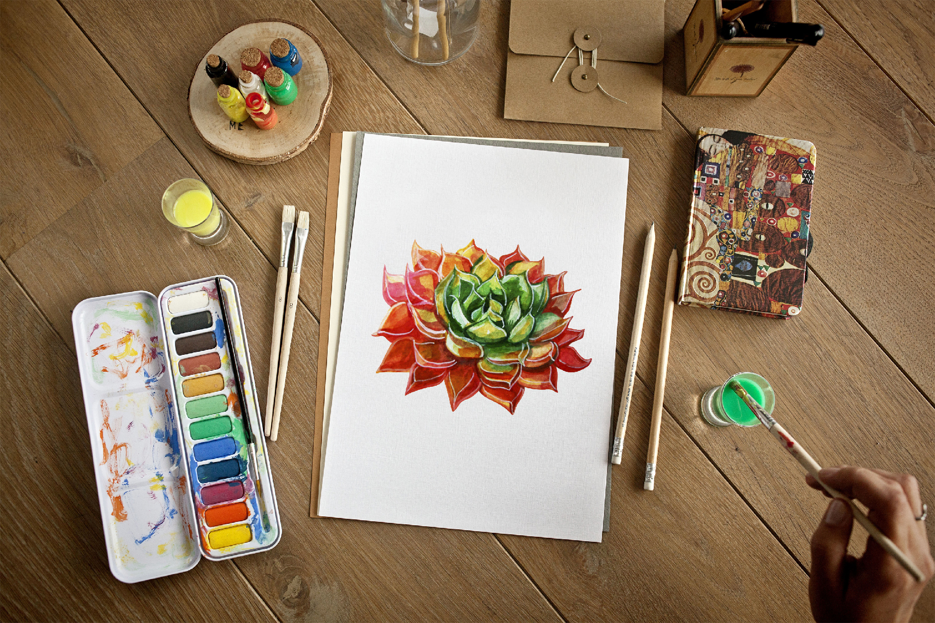 Watercolor Succulent Plants and other elements example image 8