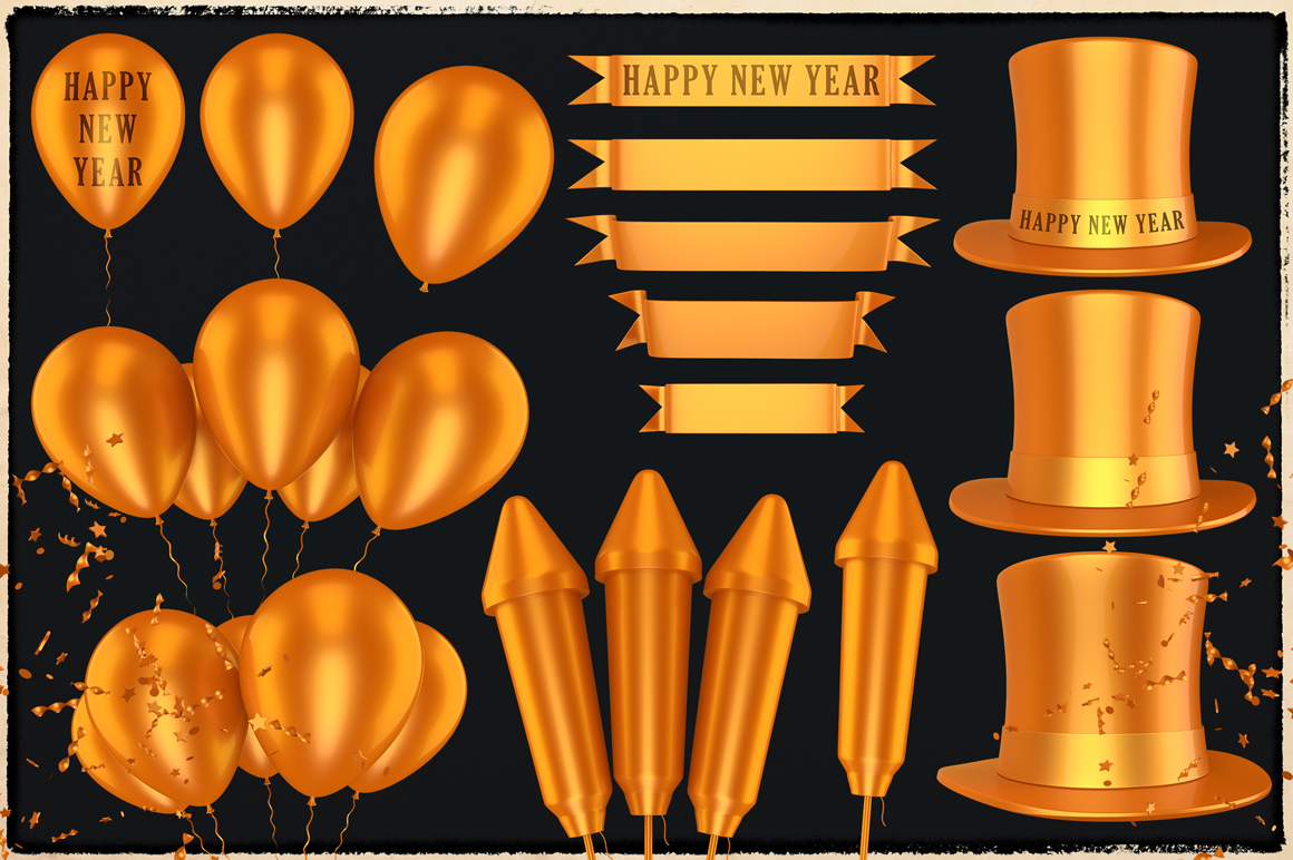 New Year 3D PNG Items Pack example image 3